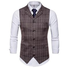Men's Clothing Efficient Voboom Coffee Color Tweed Mens Vest Suit Slim Fit Wool Blend Single Breasted Herringbone Waistcoat Men Waist Coat For Man 007