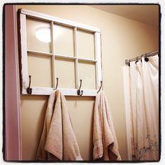 Antique window made into a towel rack for the bathroom. Antique window made into a towel rack for the bathroom. Bathroom Windows, Bathroom Interior, Attic Bathroom, Bathroom Renos, Small Bathroom, Master Bathroom, Towel Rack Bathroom, Towel Racks, Bath Towels