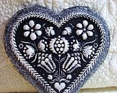 Black & White EMBOSSED HEART  Cast Stone Springerle German Mold Christmas Cookie Ornament Primitive Folk Art European Ornaments Shabby Chic