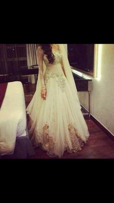 Contemporary white anarkali dress perfect for wedding reception