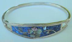 Alpaca Silver Bracelet Bangle Hinged Abalone Enamel Flower 13 9g Mexico | eBay