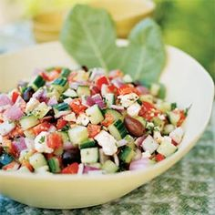 Greek salad- tomatoes, cucumber, red onion, feta, olives, olive oil. that's it. lettuce is for rooks.