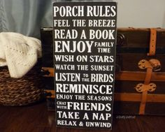 Porch Rules -  Hand Painted Typography Art Distressed Wood Sign via Etsy