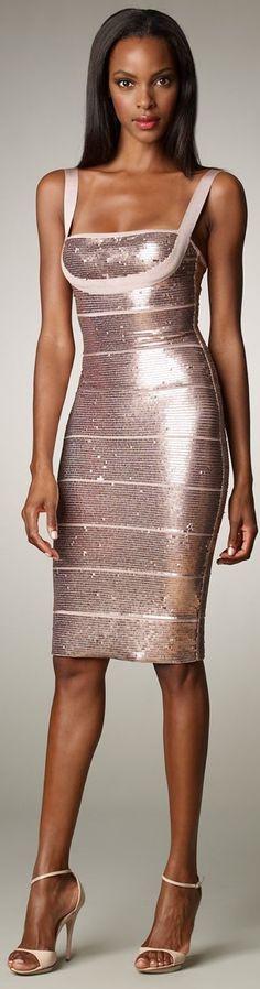 Herve Leger |= Pink Sequin Cocktail Dress