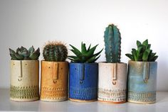 Happy face ceramic planters - Atelier Stella