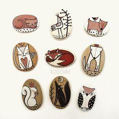 Pietre dipinte, Animali Fermacarte disponibile singolo o in set