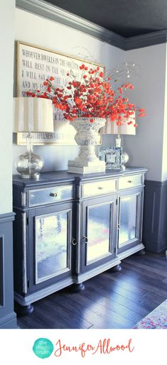 Gorgeous Mirrored Buffet in Gray Dining Room - How to Make Mirrored Furniture with Contact Paper | DIY Mirror Ideas | Adding Mirrors to Furniture | Dining Room Ideas by Magic Brush