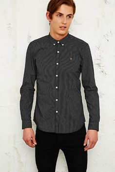 Farah Vintage Shepherd Micro Stitch Shirt in Black at Urban Outfitters