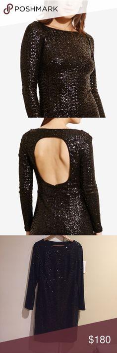 Ralph Lauren Sequined Cutout-Back Dress. Size 14 Gorgeous for the Holidays! BNWT. Lauren Ralph Lauren Dresses Long Sleeve