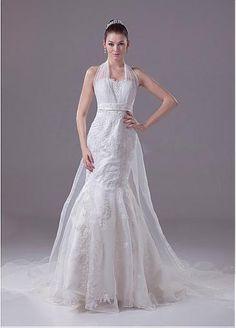 Appliques Sleeveless Mermaid Garden Wedding Dress #FebSale