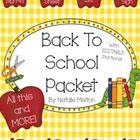 ~ Back to School Packet- Open House Forms ~  THIS PACKET CONTAINS EDITABLE PORTIONS FOR YOU TO PERSONALIZE TO YOUR NEEDS!  This back to school packet...