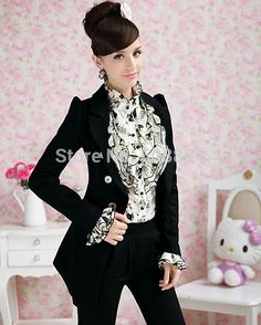2015 Chiffon blouse Women Ruffle Collar Plus Size Vintage Cartoon Print Woman Shirt Long Sleeve formal Woman Shirt Work wear Top