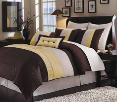 Brown and yellow bedroom