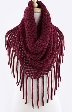 Burgundy+Crimson+Red+fringe+crochet+scarf.+Perfect+for+accessorizing+your+outfit.