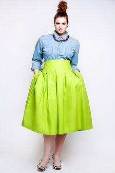 JIBRI High Waist Chartreuse Green Pleated Skirt