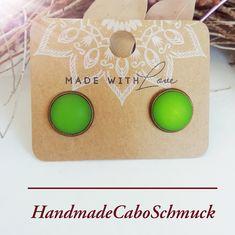 12mm Cabochon Ohrringe Polaris Matt Grün Hänger oder Stecker, Edelstahl oder Bronze