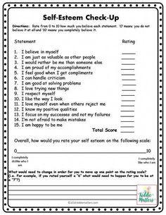 Self - Esteem Check up. Self esteem. Increase self esteem. Improve self esteem. Boost self esteem. Self Esteem Worksheets, Counseling Worksheets, Self Esteem Activities, Therapy Worksheets, Group Counseling, Counseling Activities, School Counseling, Cbt Worksheets, Health Activities