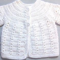 Newborn white cardigan Infant matinee coat Baby shower