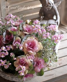 tef*tef*寄せ植え<BR>2014 * no.60 *<BR><BR>『アンティーク葉牡丹×ネメシア』