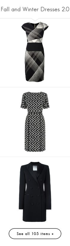 """""""Fall and Winter Dresses 2.0"""" by mcclungkristina ❤ liked on Polyvore featuring dresses, black white dress, black and white dresses, roland mouret, roland mouret dress, white and black dress, clearance, print dresses, zig zag dress and zigzag dress"""
