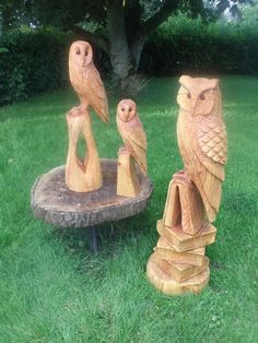 Chainsaw Carved Owls in a variety of styles Tree Carving, Wood Carving Art, Wood Art, Wood Carvings, Carver Kings, Whittling Wood, Bone Crafts, Owl Pictures, Tree Sculpture