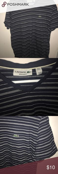 Lacost v neck shirt Rarely used striped navy blue v neck Lacoste Shirts Tees - Short Sleeve