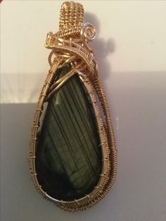 Wire Wrapped Pear Pendant | Labradorite Cabochon | wrapped in stunning light gold copper wire | One of a Kind Jewellery | Unique Gemstone Jewellery | Commissioned Jewellery Pieces | All By Journey Designs By Leo ... Any Jewellery Piece you want - get in touch today