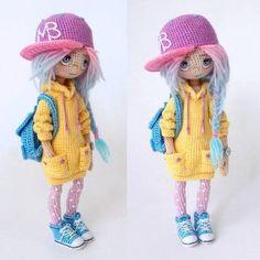 Amigurumi doll wearing a cap. Crochet Diy, Crochet Doll Pattern, Crochet Bunny, Crochet Patterns Amigurumi, Amigurumi Doll, Crochet Crafts, Crochet Stitches, Crochet Projects, Knitted Dolls