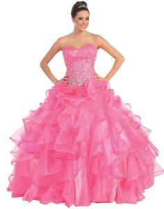 Meier Women's Sequin Beaded Corset Strapless Quinceanera Ball Gown Prom Dress Neon Pink-S