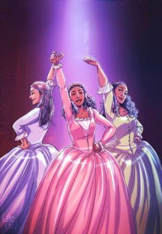 Angelica, Eliza, and Peggy ! listening non stop to the Shuyler Sisters' song. (late to the party as always but eh, now here I am)