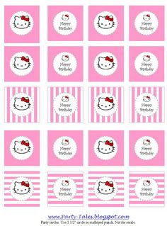 Hello Kitty Party Printable Circles ~ for cupcake toppers, favors, tags, etc. from Party Tales Hello Kitty Baby Shower, Hello Kitty Birthday, Party Printables, Free Printables, Anniversaire Hello Kitty, Hallo Kitty, Hello Kitty Cupcakes, Hello Kitty Themes, Planners