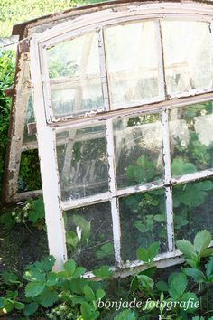 Repurposed Windows in the Garden - creating a lean-to using two salvaged windows - it creates a mini greenhouse - providing shelter to tender plants and adding character to your garden - via Bonjade Greenhouse Kitchen, Simple Greenhouse, Window Greenhouse, Lean To Greenhouse, Homemade Greenhouse, Outdoor Greenhouse, Portable Greenhouse, Greenhouse Plans, Modern Greenhouses
