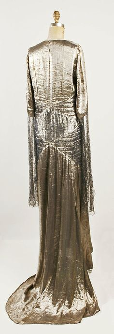 Evening ensemble (Dress, back view) House of Lanvin  Designer: Jeanne Lanvin Date: 1930 Culture: French Medium: silk, metallic thread Accession Number: 1978.184.12a–c