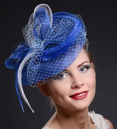 Royal blue fascinator hat for weddings, Ascot, Derby, church and many other event