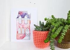 Illustrated Postcard Pink House Aquarel and by IsaBellabyMargriet, €1.50