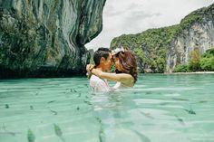 Pre wedding photo from Anyavee Tubkaek Beach Resort, Koh Hong, Koh Poda, the splitting sea in Krabi, Thailand.
