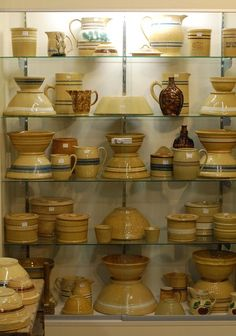 few weekends ago, we took a Saturday day trip to Walnut, Iowa, about 2 hours away. It's a tiny little town just off of with a popul. Antique Crocks, Antique Stoneware, Stoneware Crocks, Antique Pottery, Primitive Antiques, Primitive Homes, Primitive Decor, Earthenware, Primitive Bedroom