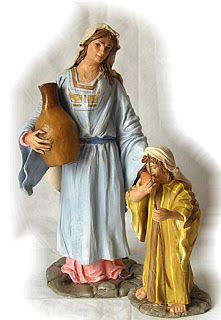 Artesanía Belenísta: Pastora con cantaro y niño a Palillo 28cm (basado en el conjunto de Pedro Ramirez Pazos) Colección privada del autor