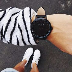 Black and White stripes with   The Fifth Watches // Minimal meets classic design: www.thefifthwatches.com