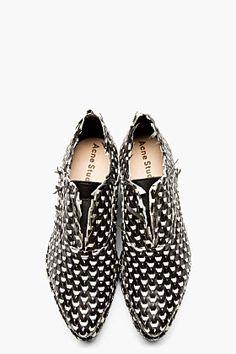 acne studios black & white interwoven leather jax shoes.