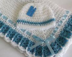 Manta de ganchillo afgana y sombrero azul blanco de bautizo, bautizo, Baby Boy Granny Square Crochet manta, regalo