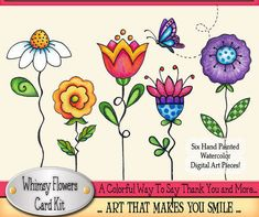 Thank You Card Kit Laurie Furnell Flower Digi Stamps Flower Rock Flowers, Colorful Flowers, Doodle Drawings, Doodle Art, Watercolor Cards, Watercolor Flowers, Wal Art, Butterfly Drawing, Flower Clipart