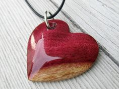 Wood Heart Necklace - Brazilian Purpleheart - Womens Jewelry via Etsy
