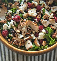 Grilled Chicken Salad with Feta, Raspberries, and Pecans.  #spon #kraftsaladdressing