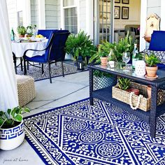 The Summer Outdoor Living Tour – jane at home Summer Outdoor Living Tour – ideas and inspiration for your patio, porch and outdoor spaces-lush greenery and hanging curtains Fresco, Classy Living Room, Building A Porch, Pub Table Sets, Bar Tables, Summer Porch, Pub Set, House With Porch, Outdoor Living