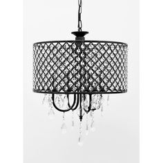 """Found it at Wayfair - Pluto 4 Light Crystal Chandelier Overall Height (Hanging)4' 7 13/32'' '' Fixture Height - Top to Bottom1' 4'' '' Fixture Width - Side to Side1' 5'' '' Fixture Depth - Front to Back1' 5'' '' Chain or Rod Length3' 3 13/32'' '' Overall Product Weight7.7 lb. Shade dimensions: 16"""" H x 17"""" W x 17"""" D"""