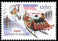 Joulupostimerkki 1976 - Rekiretki  joulukirkkoon Christmas stamp 1976 Finland Christmas Holidays, Christmas Crafts, Good Old Times, Stamp Collecting, Old Toys, Postage Stamps, Vintage Christmas, Old Things, Childhood
