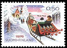 Joulupostimerkki 1976 - Rekiretki  joulukirkkoon Christmas stamp 1976 Finland