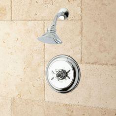 "Windom Shower Set with Modern Cross Handle - 8"" Arm - Brushed Nickel"