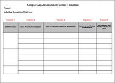 Simple Gap Assessment Format Template | Projectemplates | Excel Project  Management Templates For Business Tracking | Pinterest | Template, Project  ...
